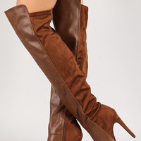 Breckelle Solid Round Toe Stiletto Thigh High Boot
