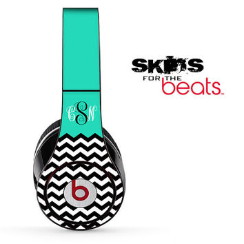 Teal-White & Black Chevron Pattern Custom Monogram Script Skin for the Beats by Dre Studio, Solo, MIXR, Pro or Wireless Headphones