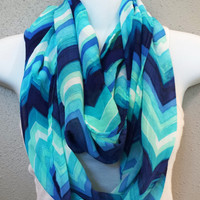 Blues Chevron Silky Infinity Scarf Fashion Scarves Womens Circle Scarf Spring Eternity Loop Chevron Scarves