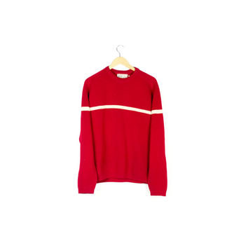 vintage 60s red wool sweater / solid color center bar stripe / classic 100% wool knit ski sweater / 1960s / minimal / mens medium - large