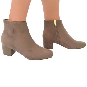 Rhythm Of The Night Suede Booties In Mocha