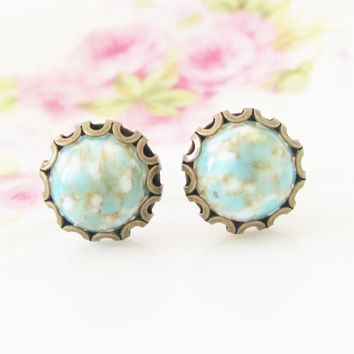 Turquoise Matrix Scallop Earrings - Turquoise Matrix Scallop Round Antique Brass Post Earrings - Preppy Bridesmaid, Wedding, Bridal
