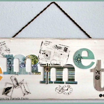Travel, Custom Name Plaque, Personalized Name, Door Sign, Travel Decor, Boy or Girl's Name Decor