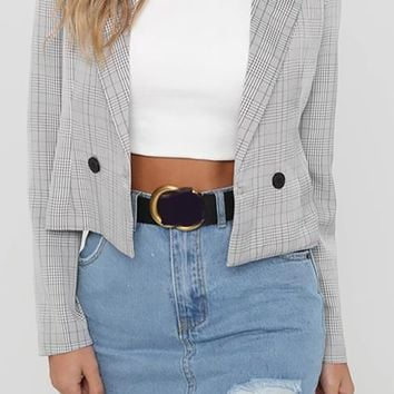 Through It All Plaid Pattern Long Sleeve Double Breasted Crop Blazer Jacket Outerwear - 2 Colors Available