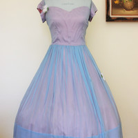 Vintage 1950s New Look Blue Chiffon Party Dress