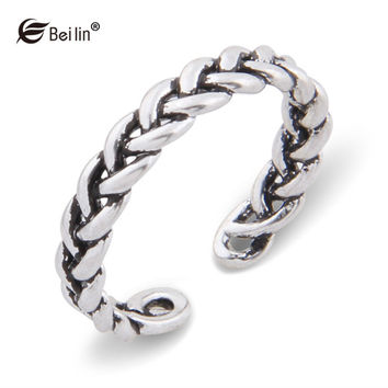 Gothic Personality Chain Ring Antique Silver Plated Twisted Open Rings Vintage Jewelry For Women Bague Chaine (AL810070)