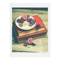 Olivia St Claire Old Books and Asters Art Print