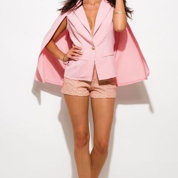 Military Button Cape Jacket Suiting Blazer Top