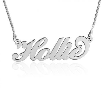 Carrie neckalce with name Silver name Pendant Chain cursive Name Pendant Carrie necklace name pendant silver nameplate chain