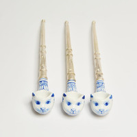 Set of 3 Classic Cat Tobacco Smoking Pipe with Nickel Silver Pipe Handle