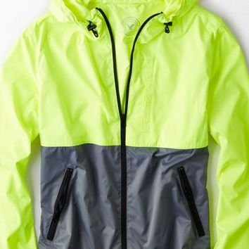 AEO Men's Colorblock Hooded Windbreaker (Bright Green)
