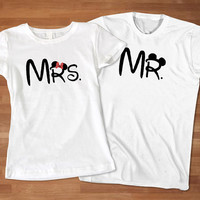 Mrs. and Mr Disney Couples T-shirt, Custom Couples T-Shirt, Awesome Couple T-Shirt, Cute Couple T-Shirt