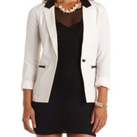 Faux Leather Accented Tuxedo Blazer by Charlotte Russe - White Combo