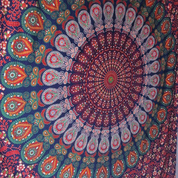 Twin Hippie Bedding Indian Floral Barmeri Mandala Print Bedspread Tapestry Coverlet Sheet Small Wall Hanging Elephant Wall Hanging