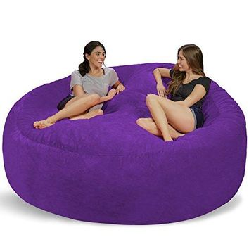 Chill Sack Bean Bag Chair: Giant 8' Memory Foam Furniture Bean Bag-Micro Fiber Cover-Purple