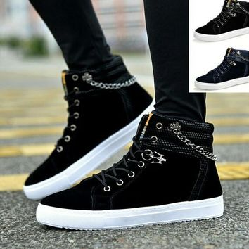 Punk Gothic Hightop Canvas Sneakers with Chain