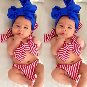 New Toddler Kids Girls Striped Bow Bikini Set