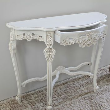 Windsor Hand-Carved Half Moon Console Table