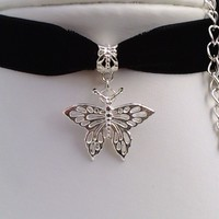Gorgeous Silver Plated Filigree  BUTTERFLY Pendant BLACK 16mm Velvet Ribbon Choker Necklace - uk... or choose another colour, wide choice :)
