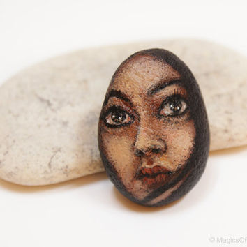 Original portrait painting on river stone, OOAK original painting on rock, miniature pebble art