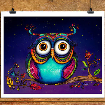 Watercolor Owl Painting - owl watercolor - owl artwork - kids room decor - nursery decor love you - owl art - owl in trees - 11x14 art print