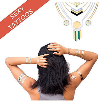 Metallic Temporary Tattoo Body Art for Adults & Kids from Firebrand - Bright Natural Vegetable Ink Tattoos include Tribal, Henna, Gold, Silver & Sexy Turquoise, Bracelets, Arrows, Beach & Jewelry Designs - 4 Sheets - Enhance Your Look Now!