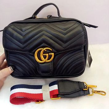 GUCCI Trending Ladies Stylish Metal G Double Zipper Leather Satchel Shoulder Bag Crossbody Black I-MYJSY-BB