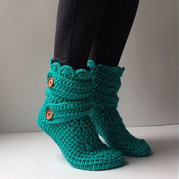 Women's Crochet Teal Slipper Boots, Crochet Slippers, Crochet Booties, Crochet House Shoes, Crochet Winter Boots, Blue Green Slipper Boots