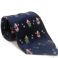 Retro Holidays 100% Silk Tie Sleigh Ride Santa Claus Blue Necktie Novelty Christmas Tie Vintage Holiday Necktie Classic Men's Xmas Tie Gift