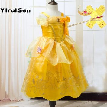 Toddler Girls Summer Belle Dresses Princess Costume Party Clothing Beauty and the Beast Yellow Dress Sleeveless Clothes 10 12