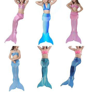 BONJEAN halloween girl mermaid tail swimming costume princess children mermaid swimsuits for girl bikini sets kids dress