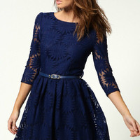 Lace Long Sleeve Crew Neck Line Dress