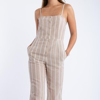 Candy Striper Jumpsuit in Taupe