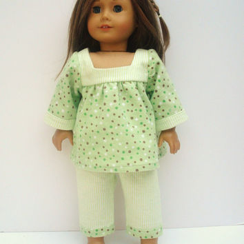 18 Inch Doll Clothes, American Girl Doll Pajamas, Green Pajamas, Flannel, Winter Pajamas for Dolls