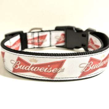 "Beer Dog Collar - 1"" Adjustable Budweiser Inspired Alcohol Collar"