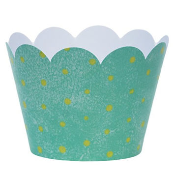 Confetti Couture Party Supplies 36 piece Dessert Skirtz Cupcake Wrappers Light Ocean Blue with Green Polka Dots Decorations for Packaging Birthday Treats and Baby Shower Favors