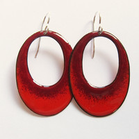 Red Enamel Oval Hoop Earrings