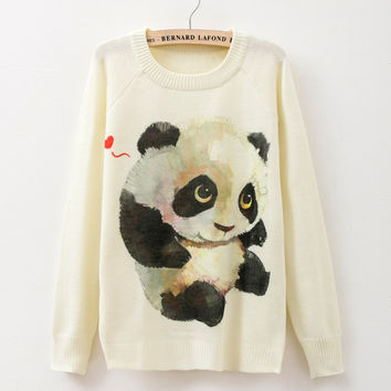 2015 winter Knitwears women sweaters and pullovers fashion Panda/Tiger print  Harajuku Sweaters pull femme pullovers