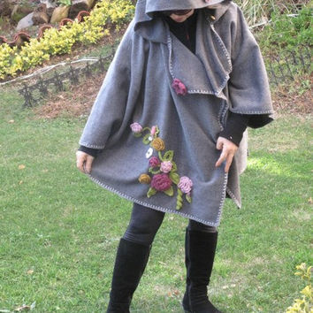 Wool poncho, shawl, Wool Hooded fabric poncho. % 100 wool, hooded   poncho,  Boho  cardigan,