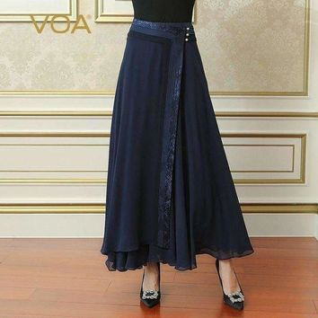 ICIKON3 navy blue plus size loose women maxi long pleated skirt silk georgette  solid casual skirt cla02801