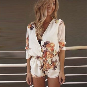 Floral Printed Button Down Romper