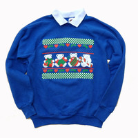 Small Ugly Christmas Sweater - Medium Ugly Sweater Party Crewneck Sweatshirt - Unisex Sweatshirt - Collared Crewneck