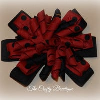 Ladybug Bow ~ Layered Korker Hair Bow ~ Red and Black ~ Polka Dot ~ Minnie Mouse ~ Pony Tail Hair Bow