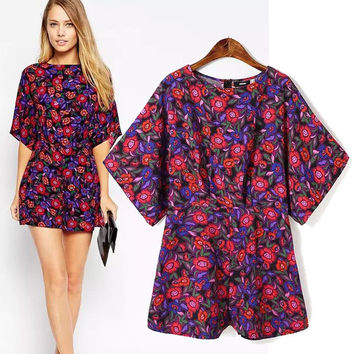Women's Fashion Vintage Pastoral Style Print Batwing Sleeve Romper Jumpsuit [5013258180]