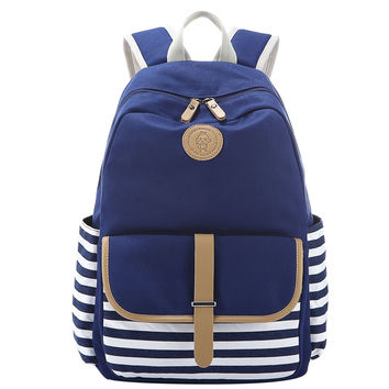 Navy Blue and White Striped Cavans School Bookbag Casual Backpack Travel Daypack