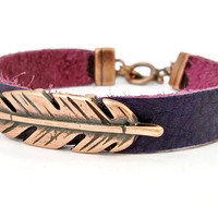 Purple Leather Bracelet, Copper and Leather, Purple and Copper Leather, Gift for Her, Copper Bracelet