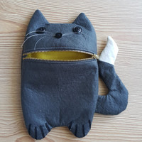 Dark grey cute cat Zip Purse, Makeup Bag, Coin Purse, Small Accessory Pouch FREE SHİPPİNG