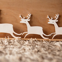 Deer on the run - set of 3 - wooden ornament - winter decor