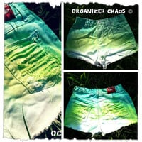 Green and Lime Ombre Vintage High Waist Denim Shorts