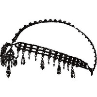 Black crystal embellished crown headband - hair accessories - accessories - women